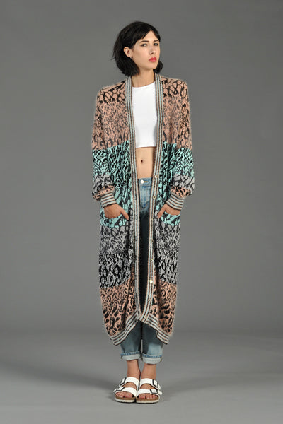 Colorblocked Animal Print Maxi Cardigan