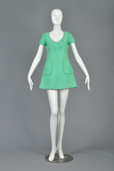 1960s Courrèges Couture Space Age Wool Dress