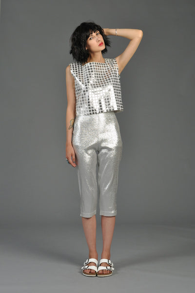 Courreges Metallic Silver Grid Keyhole Top