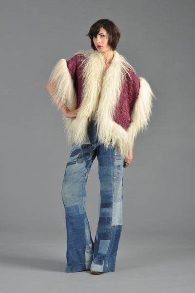 Cranberry Knit Gilet with Mongolian Lamb Trim