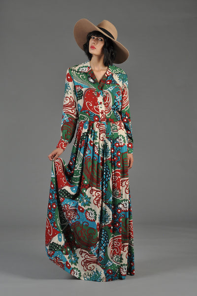 1970s Nouveau Floral Gauze Maxi Dress
