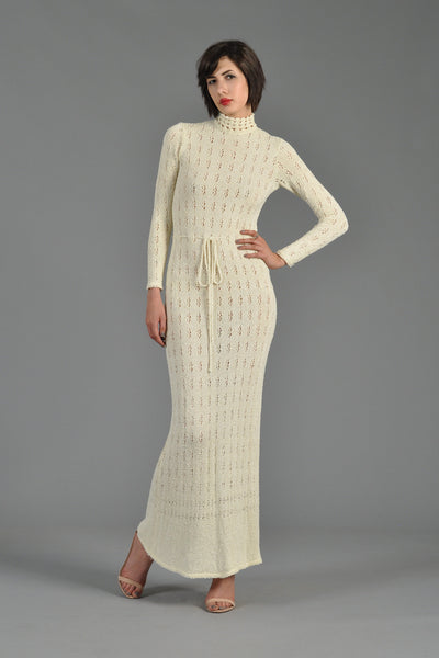 1970s Open Weave Knit Maxi Dress with High Neck