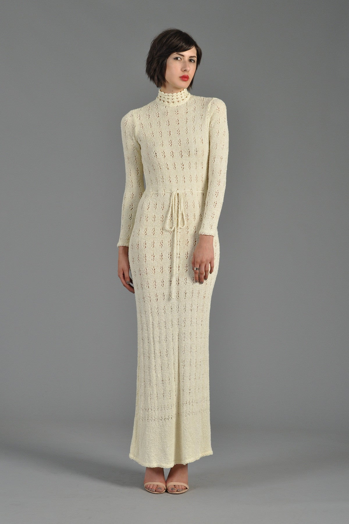 1970s Open Weave Knit Maxi Dress With High Neck Bustown