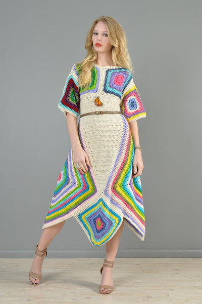 Rainbow Hand Crochet Scarf Hem Midi Dress