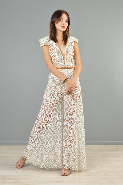 1960s Zip-Front Deadstock Lace Palazzo Jumpsuit