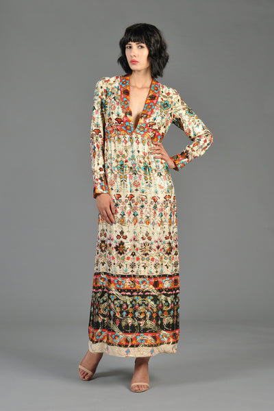 1960s Art Nouveau Inspired Metallic Ethnic Dress