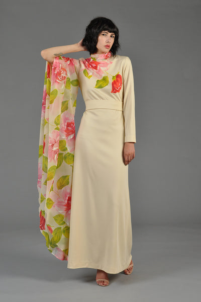 1970s Cream Gown with Single Floral Chiffon Sleeve