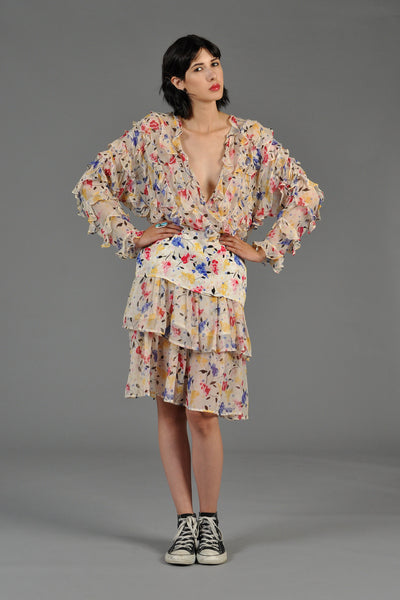 Plunging Silk Floral Ruffle Tiered Dress