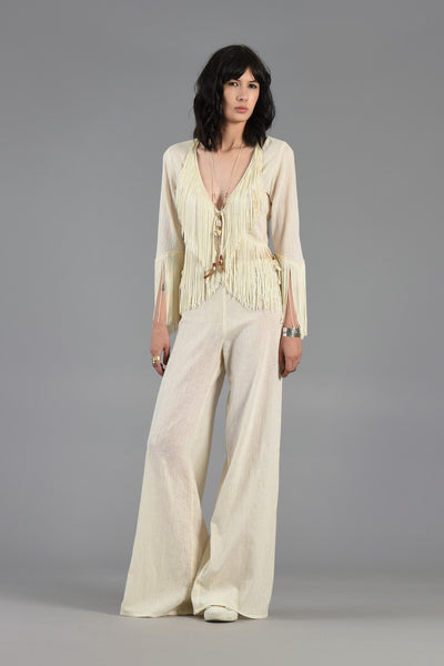 Ultimate 70s Fringed Crop Top + Palazzo Pant Ensemble