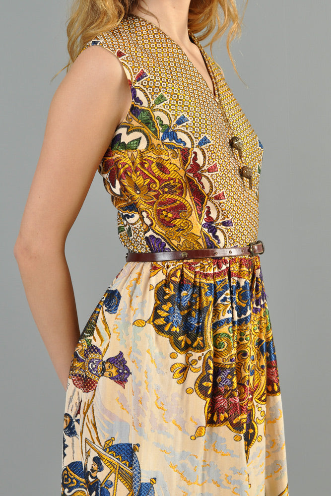 e9ac03a4303 Embroidered 1970s Tiger Hunt Palazzo Jumpsuit