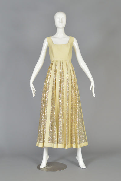 Elegant 1960s Shantung + Striped Sequins Evening Dress