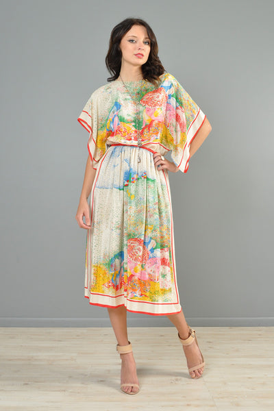 1970s Pointillist Sunbathers Silk Midi Dress