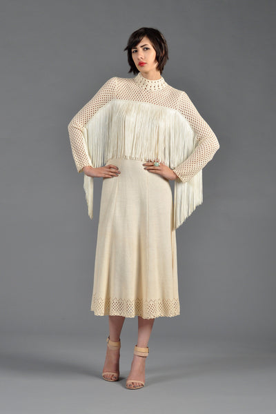 Open Weave 1970s Knit Midi Dress with Fringe