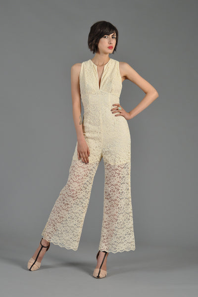 1970s Wide-Legged Lace Jumpsuit