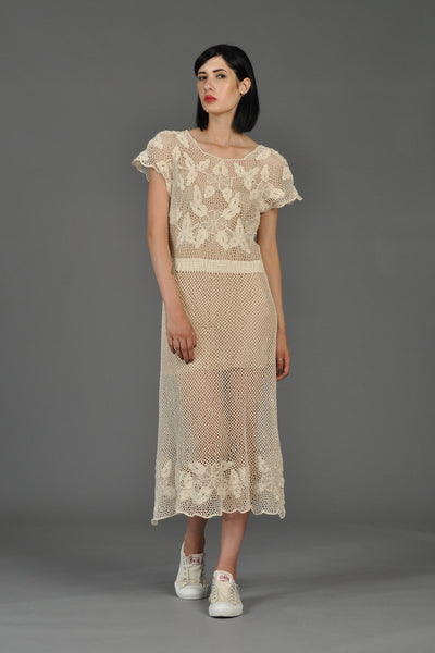 70s Sheer Scalloped Crochet Midi Dress