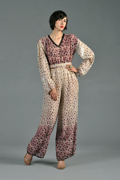 1970s Indian Jumpsuit w/Cascading Florals