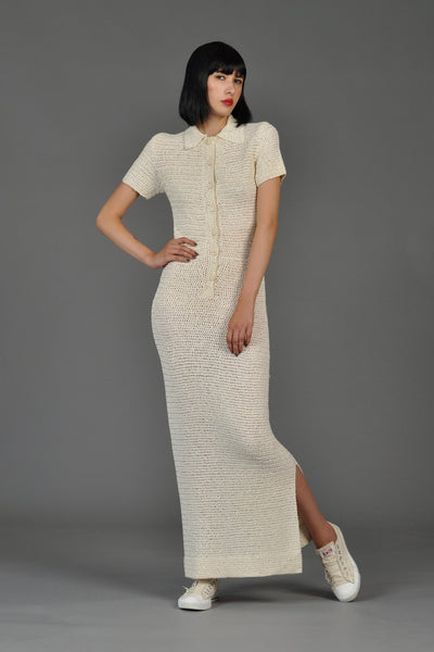 Short Sleeved Button Front Knit Maxi Dress w/Slit