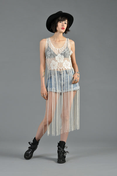 Sheer Floral Lace Fringe Top