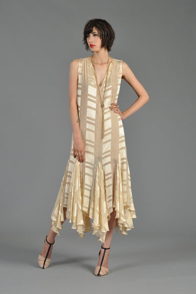 Sheer Silk Gown with Draped Handkerchief Hem