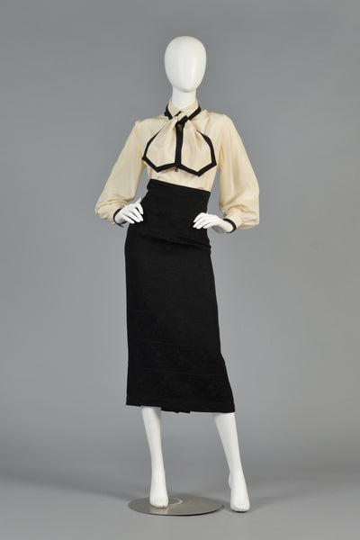 David Hayes Ivory + Black Silk Blouse w/Ascot