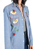 Trina 70s Hand Appliquéd Chambray Painter's Shirt