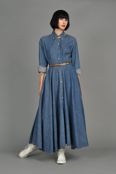 DKNY Chambray Pearl Snap Maxi Dress