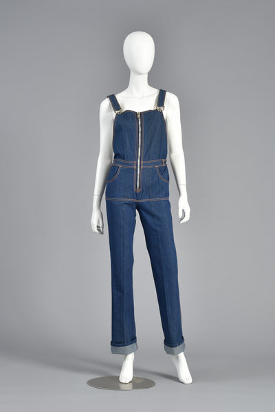 Dead Stock 70s High Waisted Zip Front Denim Overalls