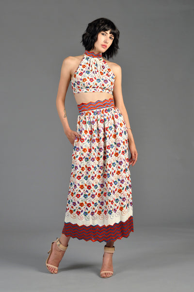 Donald Brooks Embroidered Crop Top + Skirt Ensemble