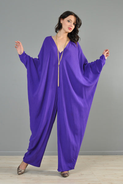 Donna Karan Royal Purple Draped Silk Jumpsuit