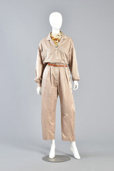 Minimalist Escada Menswear-Look Silk Jumpsuit