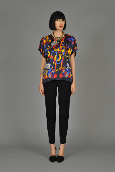 Escada 1980s Sightseeing Silk Top