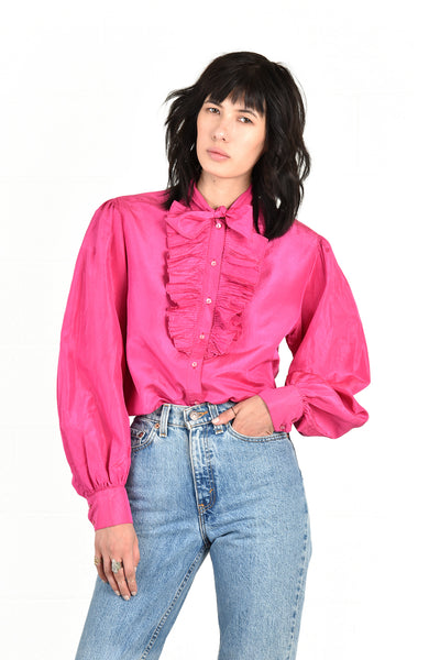 Escada Ultra Pink Ruffled Silk Tuxedo Blouse