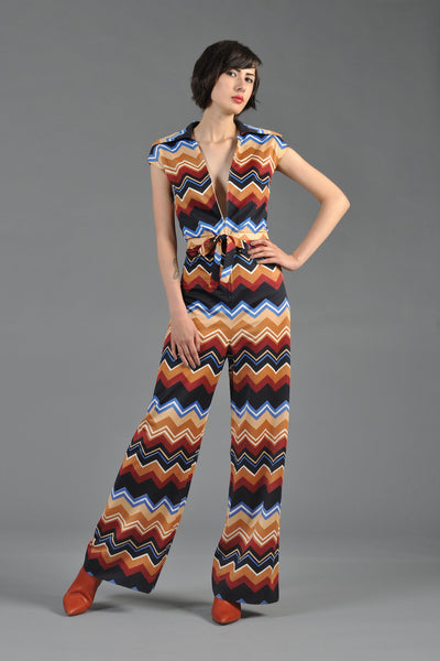 1970s Eva Gabor By Estevez Chevron Striped Jumpsuit