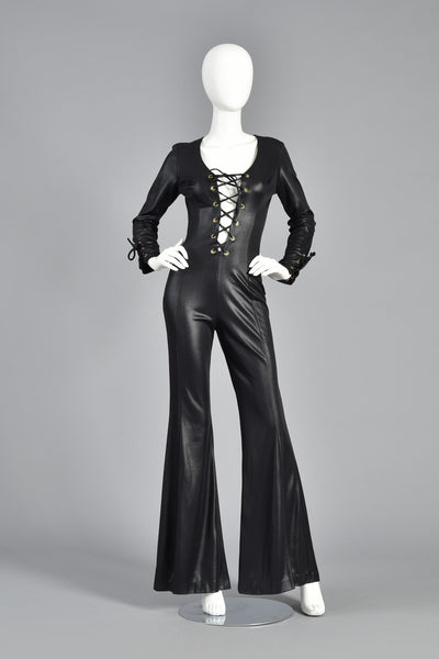 70s Bell Bottom Wet Look Jumpsuit w/Plunging Corseted Front