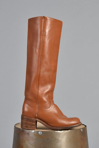 1970s Frye Stacked Heel Tall Leather Campus Boots 6