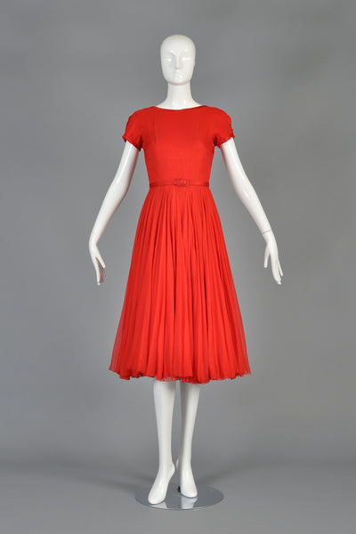 c 1951 James Galanos Cherry Red Silk Chiffon Party Dress