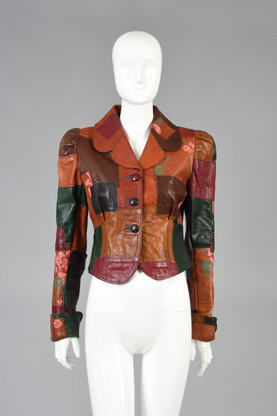 Gandalf the Wizard Floral Patchwork Leather Jacket