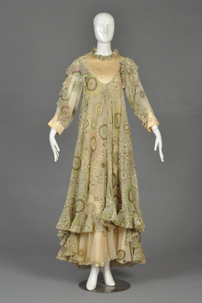 Ethereal 1970s Gina Fratini Silk Dress