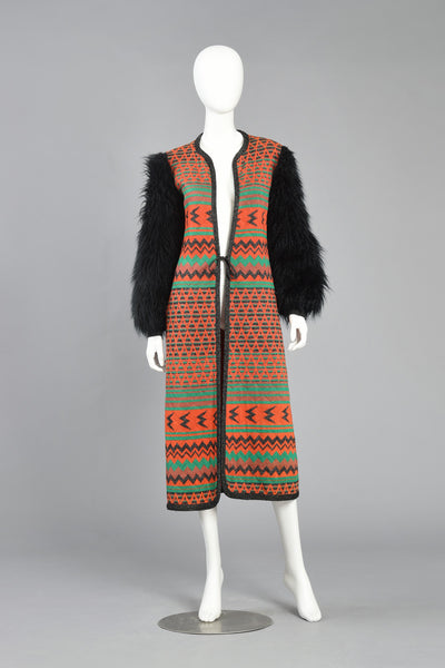 70s Giorgio Sant'Angelo Knit Maxi Jacket w/Faux Fur Sleeves