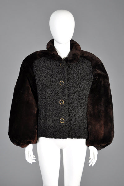 Givenchy Persian Lamb Coat w/Sheared Beaver Sleeves