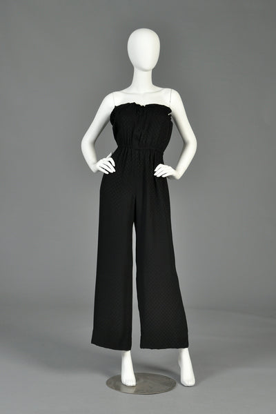 Givenchy 1970s Strapless Wide Legged Silk Jumpsuit