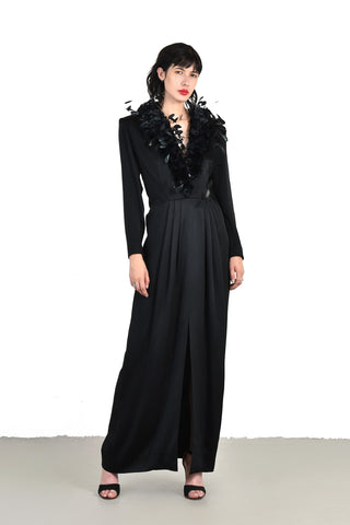 Dramatic Givenchy Plunging Couque Feather Neck Gown