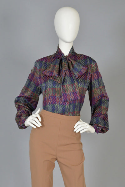 Givenchy 1970s Graphic Silk Blouse w/Ascot