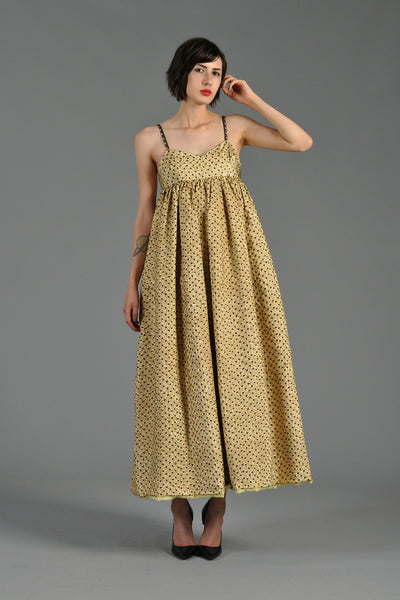 1960s Metallic Gold + Black Dotted Brocade Pouf Gown