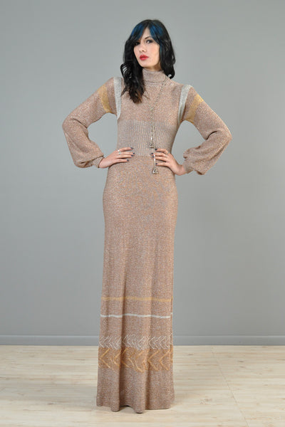 Metallic 1970s Wenjilli Chevron Knit Maxi Gown