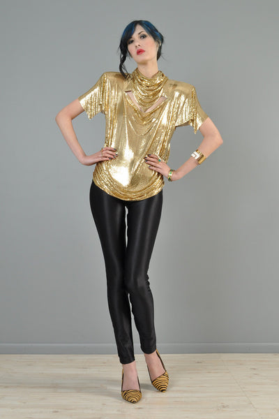 Metallic Gold Versace-esque Cutout Metal Mesh Top