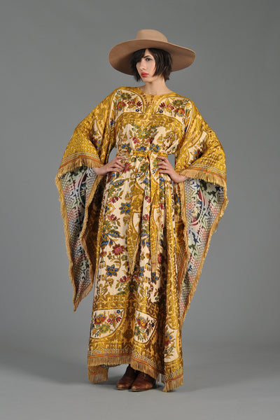 Embroidered 1970s Tapestry Caftan w/Angel Sleeves + Fringe