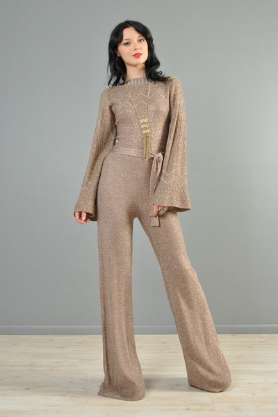 Metallic Knit 1970s Bell Bottom Jumpsuit with Flared Sleeves