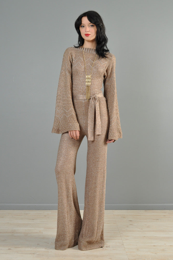 Metallic Knit 1970s Bell Bottom Jumpsuit with Flared ...