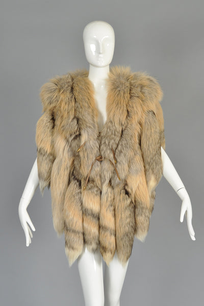 Golden Island Fringed Fox Tail Fur Gilet